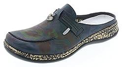 Rieker 46305 Sportliche Damen Clogs, Pantoletten, Slipper mit Lederdecksohle blau Kombi (Lake/Lake / 14), EU 37