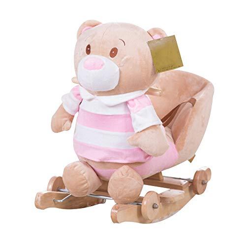 LIUXING-Toys Children's rocking chair Striped Bear Child Rocking Horse Baby Trojan Rocking Chair Rocking Horse Toy For Boys Or Girls Baby Toy Gift (Color : Pink, Size : 33X60X50CM)