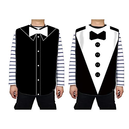 Mens Waterproof Adult Bib, Black Tuxedo with 3D Bowtie, Washable Dining Bibs,Reusable Clothing Protector Mealtime Bib Protector Aid Apron-Waterproof-Crumb Catcher-Extra Long (2 Pack)