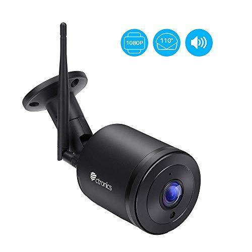 Überwachungskamera Aussen WLAN Ctronics IP Kamera Outdoor WiFi HD 1080P mit 110 ° Weitwinkel Zwei-Wege-Audio 30m IR-Nachtsicht Bewegungserkennung IP66 Wasserdicht Fernzugriff (schwarz)