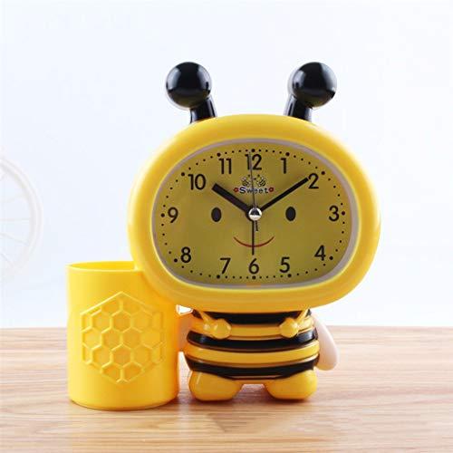 GZQDX Titular de la Pluma de la Abeja Tabla de Reloj de Reloj de Alarma pequeño 1 * AA Decoración de la Mesa de Relojes (Color : C)