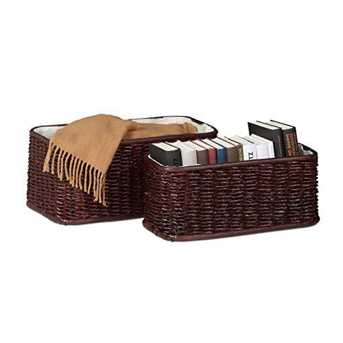 Relaxdays 10021116_531 Set 2 Corbeille Déco Panier Tressé en Palmier Buri Doublure Tissu Boîte de Rangement Décorative, Brun Cuivré, HLP 20 x 48 x 25 cm