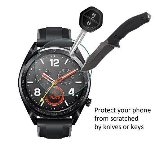 NEWZEROL Ersatz für Huawei Watch GT / GT Active Panzerglas Schutzfolie , [4 Pack] (46 mm) 2.5D Arc Edges 9H Glas Displayschutz Anti-Kratzer blasenfrei Schutzfolie - [Lebenslange Ersatzgarantie] - 3