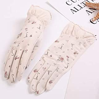 SHENTIANWEI UV Protection Stretch Short Thin Shade Driving Non-slip Female Sunscreen Gloves (Color : Beige, Size : One size-Two pairs)