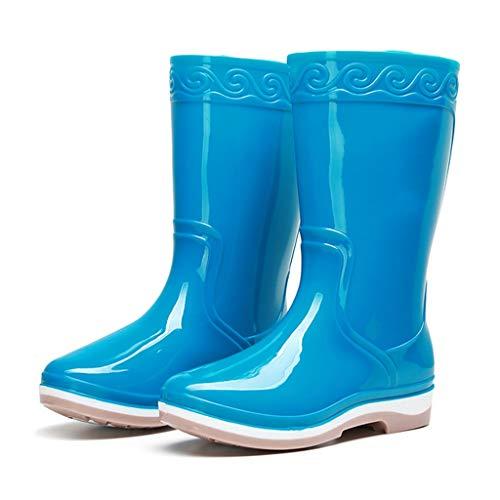 YQQMC Tubo Medio de Las Mujeres Botas de Lluvia de PVC Resistente al Agua de Lluvia Plataforma Botas Slip-en los Zapatos de jardín En el jardín (Color : Blue, Size : 38)