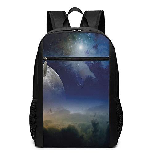 Schulrucksack Mond aufgehender Sternschnuppe bewölkt, Schultaschen Teenager Rucksack Schultasche Schulrucksäcke Backpack für Damen Herren Junge Mädchen 15,6 Zoll Notebook