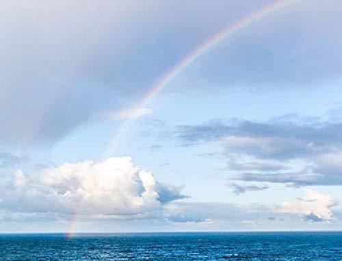 Lienzo de Bricolaje Regalo de Pintura al óleo para Adultos niños Arco Iris Nubes Mar del Norte Colorido