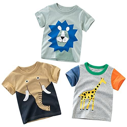 Qimaoo Baby Jungen T-Shirt Kind T Shirt Kurzarm Sommer Casual Cartoons Druck Tops für Alter 2-7 Jahre Alt (3er Set)