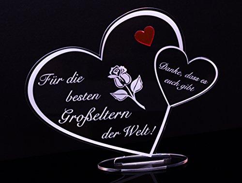 Acryl Schild in Herz Form Für die besten Großeltern der Welt die perfekte Geschenkidee, mit Lasergravur, Geschenk, 205 mm x 170 mm (Für die besten Großeltern der Welt!)