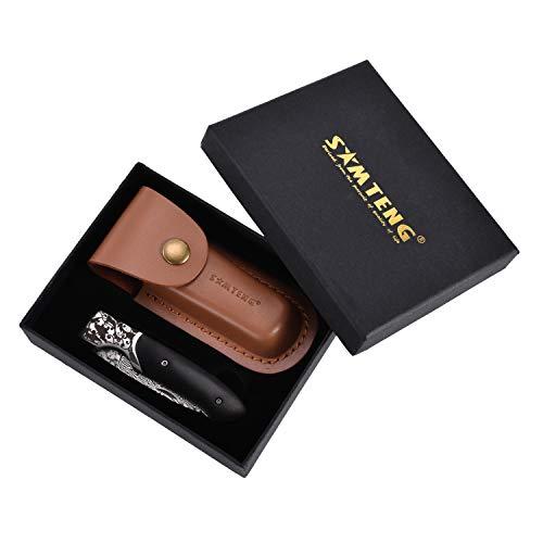 SMTENG handgemachte VG10 Damast Taschenmesser Klappmesser-Outdoor Survival Messer -Damaststahl Messer schwarz Ebenholz Log Griff mit Geschenk-Box