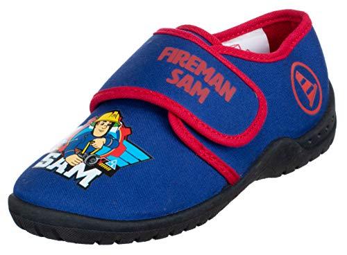 Brandsseller Zapatillas de estar por casa para niño, con motivos de Sam el bombero., color Azul, talla 31/32 EU