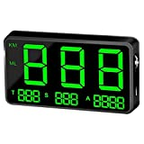 GPS Speedometer Speedometer Car HUD Head Up Display, KM/H MPH Speed Alarm, USB Charger Available, for All Vehicles, Bicycles x (Color : Black)