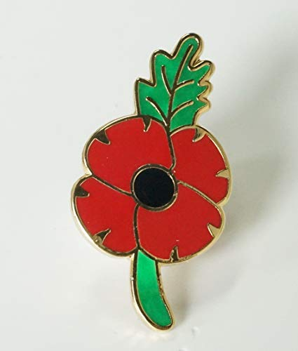 DingCollection 2019 REMEMBRANCE DAY POPPY PIN BADGE BROOCH GREE LEAF