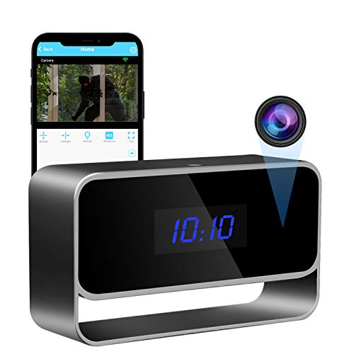 Hidden Camera Clock True 1080P WiFi Spy Camera Nanny Cam Home Security Motion Detective Alarm & Record Live Stream on App Strong Night Vision