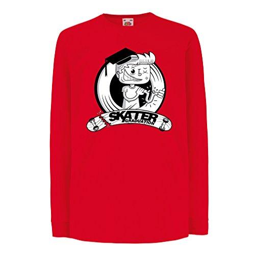 lepni.me Kinder-T-Shirt mit Langen Ärmeln Pro Skate Academy für Skater, Longboard, Geschenk für Skateboarder (7-8 Years Rot Mehrfarben)