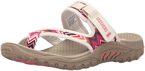Skechers Women's Reggae Zig Swag Flip Flop,Natural,9 M US
