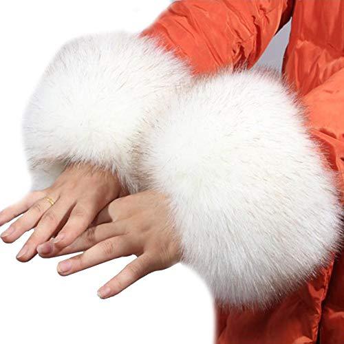 gaeruite 1 Paar weiche Kunstpelz-Handgelenk-Band-Ring-Manschetten, weiche und Flauschige Handgelenk-Band-Ringe Armwärmer-Ärmel für Frauen