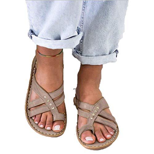 JXILY Zapatos Planos De Moda para Mujer Cuñas Zapatos De Sandalia De Plataforma Cómoda, Señoras Playa De Verano Punta Abierta Tobillo Zapatos Casuales Zapatillas Sandalias Cómodas,Gris,36