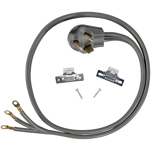 Certified Appliance Accessories 30-Amp Appliance Power Cord, 3 Prong Dryer Cord, 3 Wires with Eyelet Connectors, 4 Feet, Copper Wire