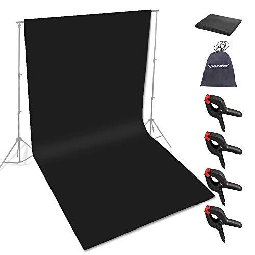 Spardar Pantalla Negra con 4 Abrazaderas, telón de Fondo fotográfico 1.8M X...