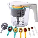 PopHMN Set de Tazas y cucharas medidoras, Tazas de medir Taza medidora de 1000 ml con 1 embudo y 6 cucharas medidoras para hornear en la cocina