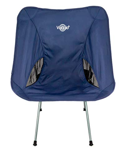 Viaggio+ アウトドア チェア イス 椅子 折りたたみ 背もたれ 軽量 コンパクト キャンプ グランピング (ネイビー)