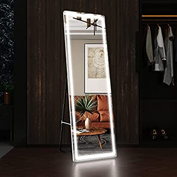 BRAMI Full Length Floor Mirror Dimming Lights 63 x20  Bedroom Full-Size Body Mirror Lighted Mirror Free Standing Mirror or Wall Mounted Hanging Mirror Dressing Mirror  White Round Corner