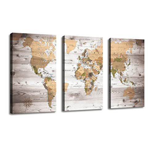 Canvas Wall Art World Map Poster Vintage Photos Painting Nautical Office Decor - 3 Panels Large Modern Framed Wall Art Map of The World Canvas Prints for Living Room Home Decor Overall 48 x 28 Inches