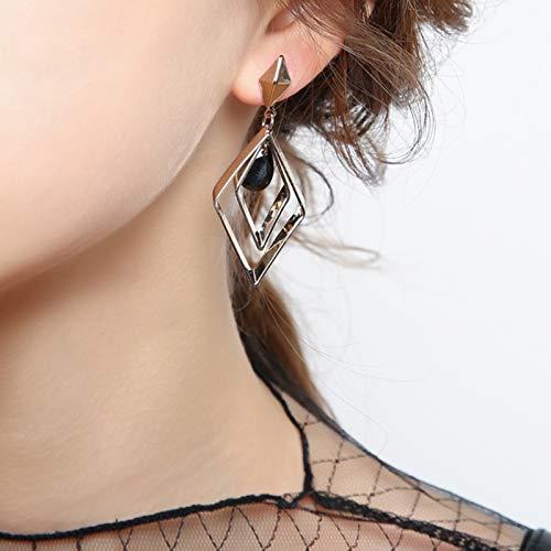 Yuansr Pendientes geométricos de Moda de Rhombus, Pendientes de Plata para niñas, Pendientes de Gancho Pendientes de Gota Plateados con Caja de Regalo (Color : A)