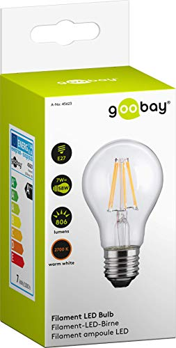 Goobay 45623 E27 LED Lampe / LED Filament Mini-Globe Glühlampe für E27 Fassung / 7 Watt entspricht 58 Watt Glühbirne / Verbrauch 7 kWh/1000 h / Warmweiß Lampe / A++