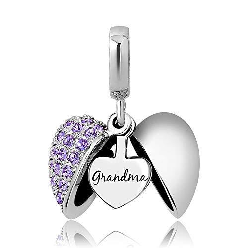 Grandma i Love You - Abalorio de cristal con forma de corazón para pulseras y collares