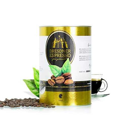 Dresdner Espresso - Kaffeebohnen, Espressobohnen aus biologischem Anbau / fair gehandelter Espresso Kaffee / rauchig, nussiger Geschmack mit Marzipannote / reiner Bohnenkaffee (mit Dose, 500g)