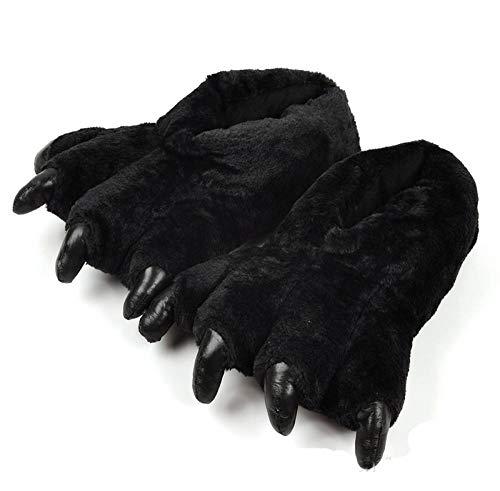 B/H Zapatillas de Estar en Casa Mujer,Zapatillas de algodón para el hogar de Dibujos Animados, cálidas y Antideslizantes, Bolso de Felpa heel-40-44_Black