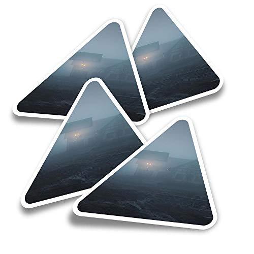 Pegatinas triangulares de vinilo (juego de 4) - Horror Scary Movie Gas Station Fun Calcomanías para portátiles, tabletas, equipaje, reserva de chatarra, nevera #24522