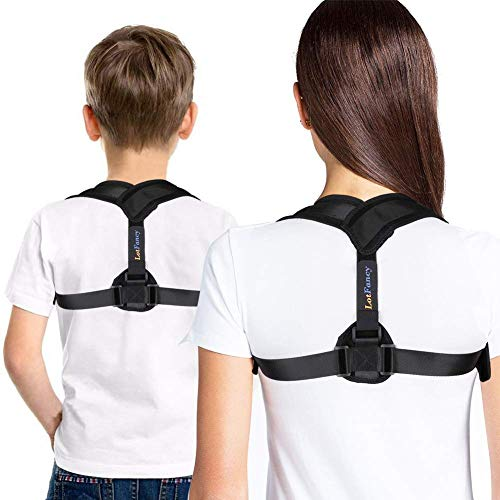 """LotFancy Posture Corrector for Women, Kids Over 10, Teens Under Clothes, Clavicle Brace, Adjustable Back Straightener for Shoulder Neck Back Pain Relief Small (30""""-36"""" in Chest Circumference)"""
