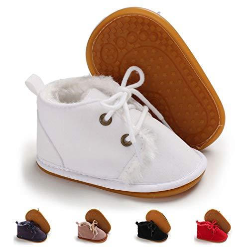 Infant Boots Winter Baby Girl Boy Shoes Rubber Sole Anti-Slip Toddler Snow Warm Prewalker Newborn Boots(6-12 Months M US Infant,A-White)