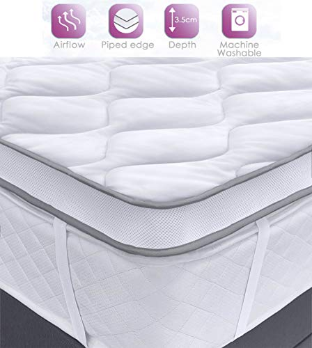 Velosso Orthopaedic Dual Air Flow Mattress Topper Max Anti Allergy Plush Mattress Enhancer Mesh Gusset Quilted Deep Filled Breathable Mattress Protector (Double)