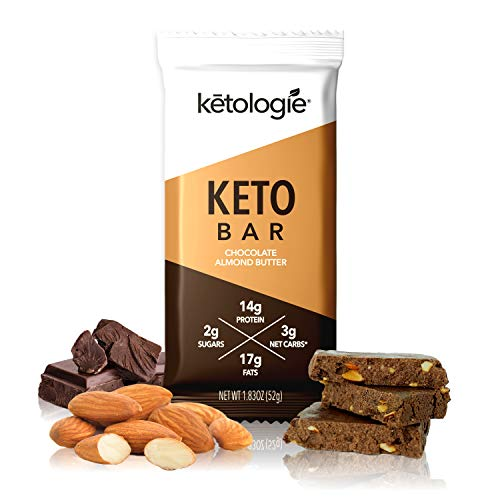 Ketologie Keto Bar (Chocolate Almond Butter) – Ketogenic Nutrition Bar, Low Carb High Fat, with Coconut Oil, Grass Fed Hydrolyzed Collagen Peptides Type I & III [12 Pack]