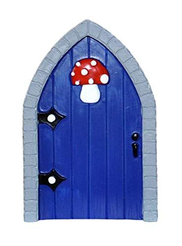 BZB Verzauberte Miniaturwelt Feentür – Garten Haus Innen Außen Ornament – 8 Designs – 12 cm (Blauer Fliegenpilz)