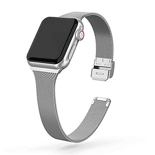 SGGFA Correa de reloj de acero inoxidable de metal para Apple Watch de 44 mm, 40 mm, 38 mm, 42 mm, serie 6, 5, 4, 3, 2 y 1 SE (Color de la correa: plata, tamaño: 42 mm y 44 mm)