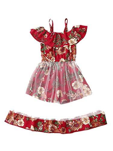 Geagodelia Vestido sin mangas con estampado floral para bebés y niñas, sin mangas, con hombros descubiertos, con gasa y volantes transparentes para el verano