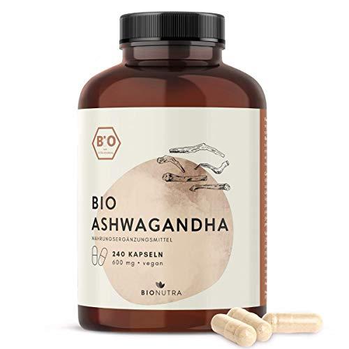 BioNutra® Ashwagandha-Kapseln Bio (240 Kapseln mit je 600 mg), hochdosiert, Großpackung, deutsche Herstellung, vegan, 100{159bd6d750d63a2d2307321e5ec7a57a442d6bb4856a59738db5fa526a5e687a} biologische Rohstoffe ohne Zusätze, Einführungsangebot