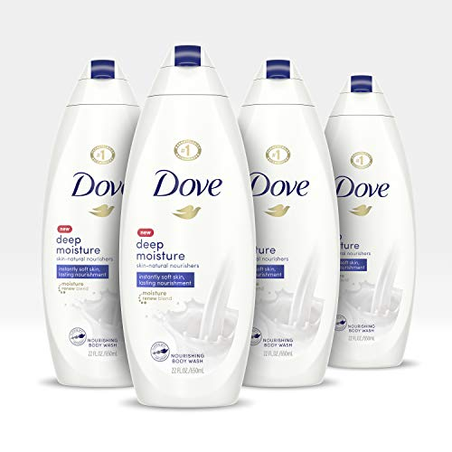 Dove Body Wash For Dry Skin Deep Moisture Gentle Bodywash, 22 Fl Oz, Pack of 4 Age Defying Body Moisture
