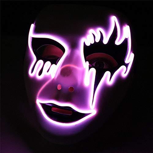 BFMBCHDJ Halloween Maske Maskerade Masken LED Neon Masque Party Cosplay Wimperntusche Scary Glowing...