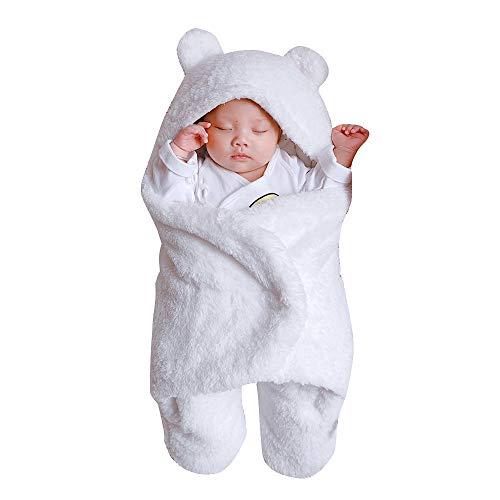 Baby Schlafsäcke Winter Swaddle Decke Pyjamas Kinderwagen Wrap für Neugeborenes 0-12 Monate Baumwolle Schlummersack Pucktücher Mit Kapuze Kinder Sicherheitsdecken Babydecken (6M, 1 Weiß)
