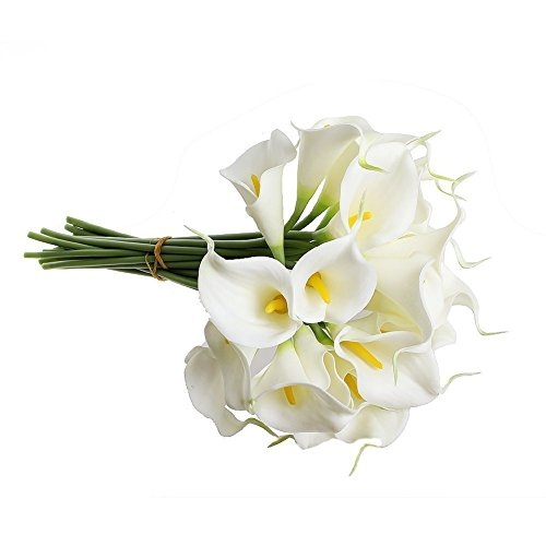 20 Stücke Calla Kunstblume Deko Künstliche Blumen Kunstpflanze Blumenstrauß Milchweiß für Zuhause Balkon Tisch Hochzeits Bouquet Dekoration oder zum Vatertag Mutterstag geschenk