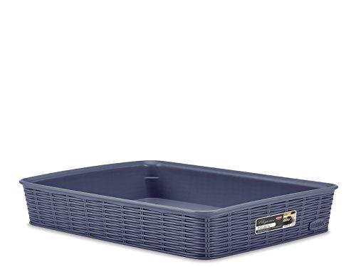 Stefanplast Elegance Cestino Rattan, Blu, 35x26x6 cm