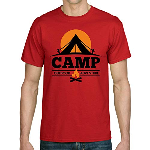 Camp Outdoor Adventure Camping Trip Camper Tent Camp Fire Summer Holiday T-Shirt,red,S