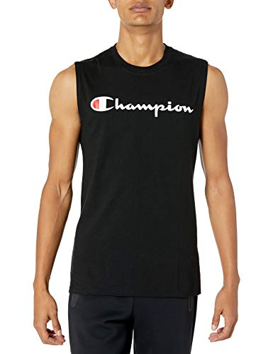Champion Men's Graphic Jersey Muscle, Black, X-Large