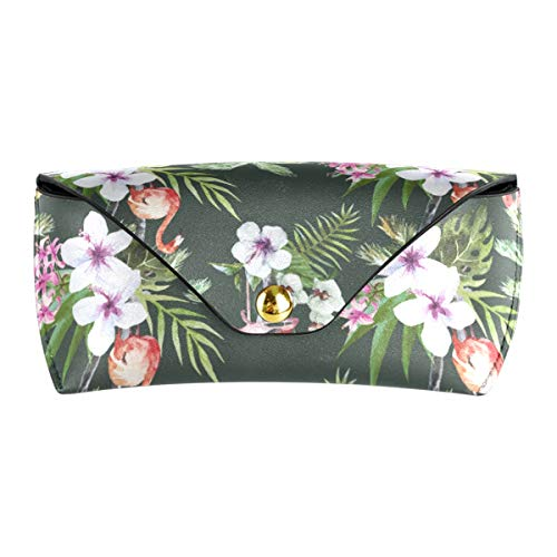 XiangHeFu Estuche de gafas de sol multiusos Gafas Flamingo con bolsa de anteojos de cuero de PU de hoja de palma Viaje portátil